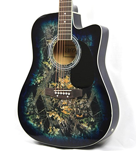 Moz Full Size Thin Body Blue Acoustic Electric Guitar with 8 Accessories