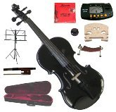 Merano 13″ Black Viola with Case and Bow+Extra Set of Strings, Extra Bridge, Shoulder Rest, Rosin, Metro Tuner, Black Music Stand, Mute