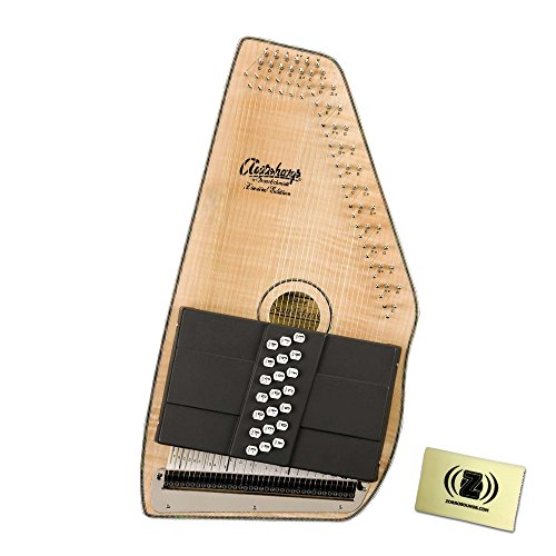 Oscar Schmidt OS110-21FNE 21 Chord Flame Maple Autoharp with Fine Tuning System Bundle – Includes Polishing Cloth – Natural