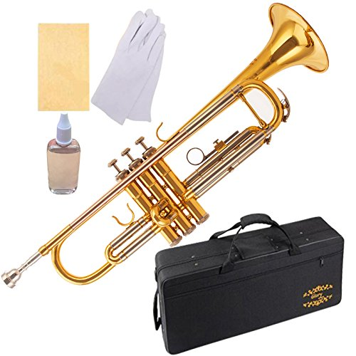 Glory Brass Bb Trumpet with Pro Case +Care Kit, High Grade, More COLORS Available ! CLICK on LISTING to SEE All Colors