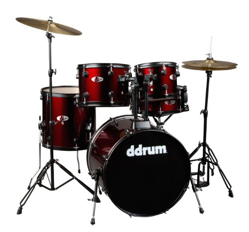 ddrum D120BR Complete Starter Drum Set, Red, Cymbals and Hardware Included