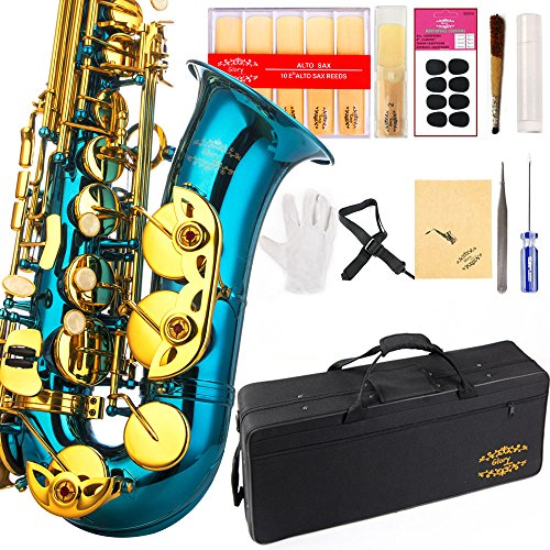 Glory Light Blue/Gold keys E Flat Alto Saxophone with 11reeds,8 Pads cushions,case,carekit-More Colors with Silver or Gold keys