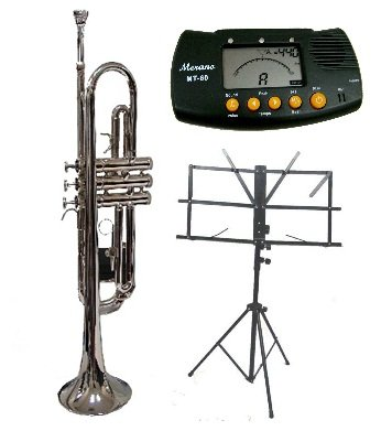 Merano B Flat Silver Trumpet with Case+Mouth Piece+Valve Oil+Metro Tuner+Black Music Stand
