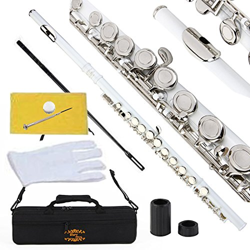 Glory Closed Hole C Flute With Case, Tuning Rod and Cloth,Joint Grease and Gloves white -More colors available,Click to see more colors