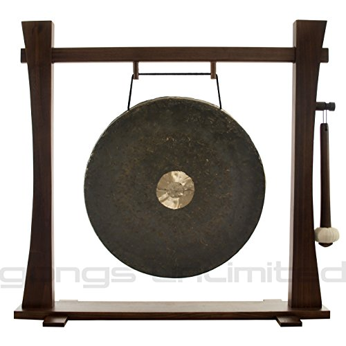 Traditional 22″ (55 Centimeter) Bronze Chinese Dark Star Gong on Spirit Guide Wood Gong Stand – Gongs Unlimited