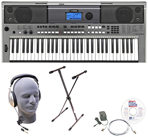 Yamaha PSRE443 Premium Keyboard Package with Headphones, Stand, Power Supply, 6-Foot USB Cable and eMedia Instructional Software