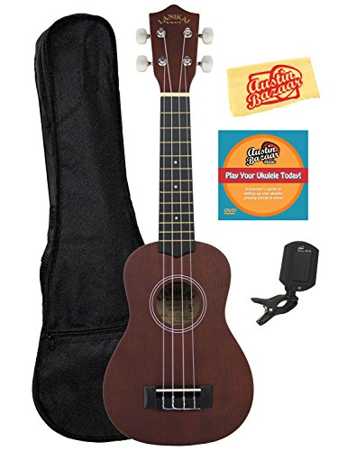 Lanikai LU-11 Soprano Ukulele Bundle with Gig Bag, Tuner, and Polishing Cloth