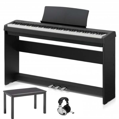 Kawai ES100 Digital Piano With Furniture Style Stand, Triple Pedal Stand, Deluxe Piano Bench & Deluxe Headphones