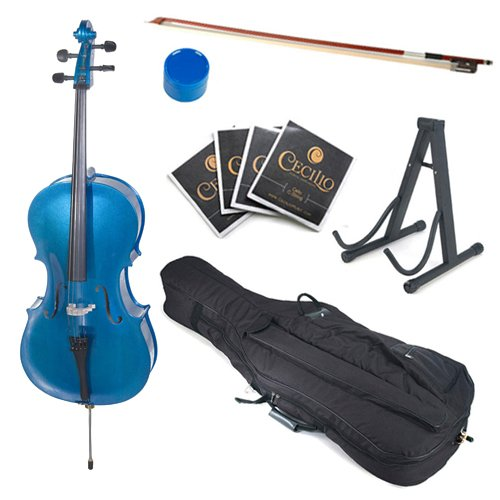 Cecilio CCO-Blue Student Cello with Soft Case, Stand, Bow, Rosin, Bridge and Extra Set of Strings, Size 1/2