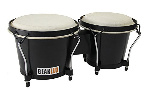 Gearlux 6-Inch & 7-Inch Wooden Tunable Bongos – Black