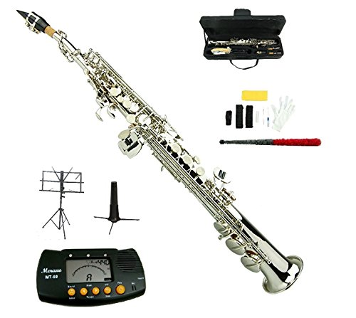 Merano B Flat Silver Nickel Soprano Saxophone,Case,Mouth Piece, Reed,Screw Driver, Nipper,a Pair of Gloves,soft Cleaning Cloth, Metro Tuner, Soprano Saxophone Stand, Music Stand