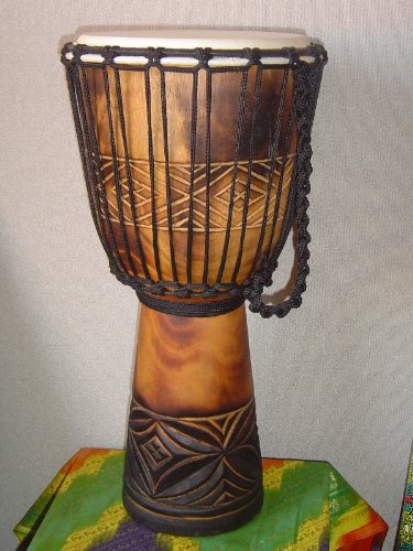 20″ X 10-11″ Deep Carved Djembe Bongo Drum with Free Cover, Model # 50m3