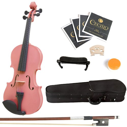 Mendini 4/4 MV-Pink Solid Wood Violin with Hard Case, Shoulder Rest, Bow, Rosin and Extra Strings (Full Size)