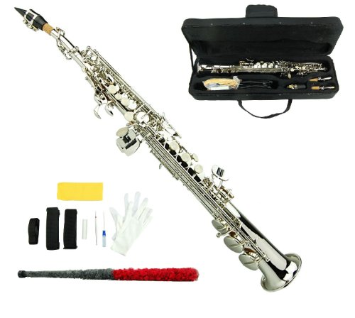 Merano B Flat Silver Soprano Saxophone,Case,Reed,Screw Driver, Nipper,A Pair of Gloves,Soft Cleaning Cloth