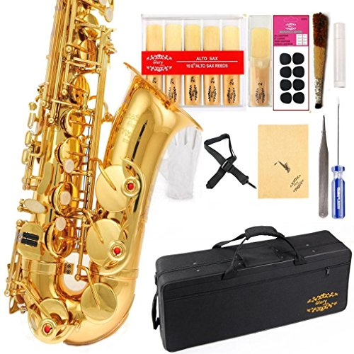 Glory Professional Alto Eb SAX Saxophone Gold Finish, Alto Saxophone with 11reeds,8 Pads Cushions,case,carekit , Click to See More Colors with Silver or Gold Keys
