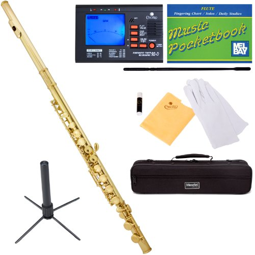 Mendini MFE-L+SD+PB+92D Gold Lacquer Closed Hole C Flute with 1 Year Warranty, Case, Tuner, Stand, Cleaning Rod and Cloth, Grease, and Gloves