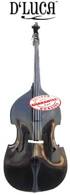 D'Luca Upright Double Bass 3/4 Black with Gig Bag, DD-BLACK