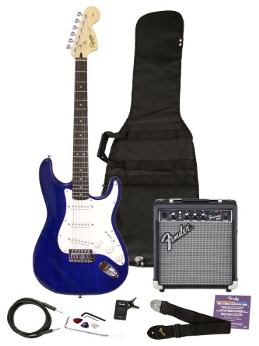 "Squier by Fender ""Stop Dreaming, Start Playing"" Set: Affinity Series Strat with Fender Frontman 10G Amp, Tuner, Instructional DVD, Gig Bag, Cable, Strap, and Picks – Transparent Blue"