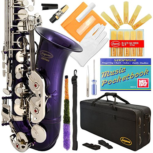 Lazarro Professional Purple Body Silver Keys E-flat Eb Alto Saxophone Sax with 11 Reeds, Case, Music Book, Mouthpiece and Many Extras, 370-PR