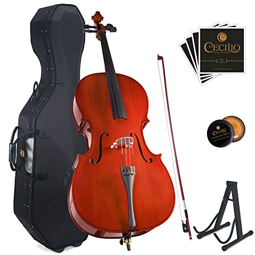 Cecilio CCO-100 Student Cello with Hard & Soft Case, Stand, Bow, Rosin, Bridge and Extra Set of Strings, Size 1/4