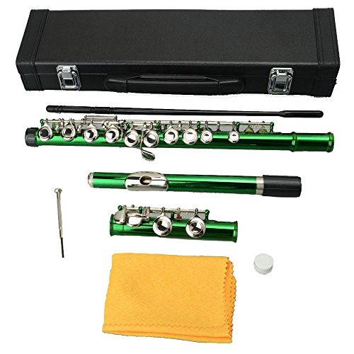 Firekingdom Cupronickel 16 Closed Holes C tone Concert Band Flute with Case and Accessories,Green