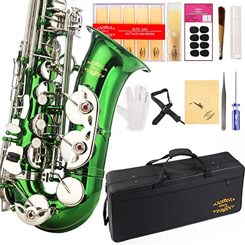 Glory Green/Silver keys E Flat Alto Saxophone with 11reeds,8 Pads cushions,case,carekit-More Colors with Silver or Gold keys