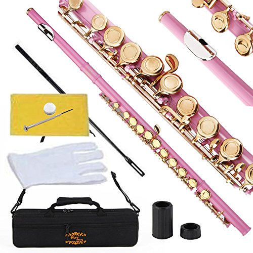 Glory Closed Hole C Flute with Case, Tuning Rod and Cloth,joint Grease and Gloves Light Pink Gold Keys-more Colors Available,click to See More Colors