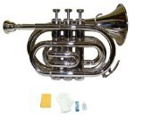 Merano WD480SV-A B Flat Nickel Pocket Trumpet with Case and Mouth Piece, Silver
