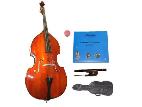 GRACE 1/2 Size Student Natural Upright Double Bass with Bag,Bow,Bridge+2 Sets Strings+Rosin