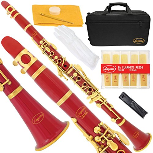 160-RD-N – RED/LACQUER Keys Bb B flat Clarinet Lazarro+11 Reeds,Case,Care Kit~24 COLORS Available,CLICK on LISTING to SEE All Colors