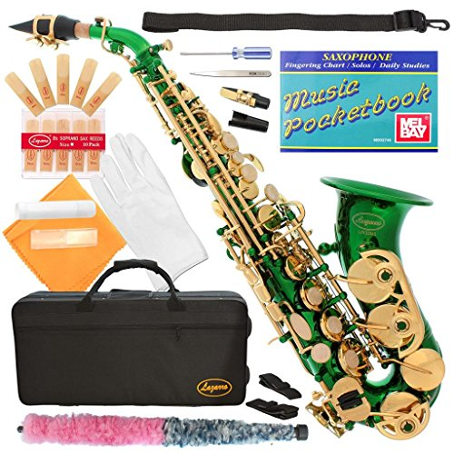 320-GR – GREEN/GOLD Keys Curved Bb Soprano Saxophone Lazarro++11 Reeds,Music Pocketbook,Case,Care Kit – 24 COLORS – SILVER or GOLD KEYS – CHOOSE YOURS !