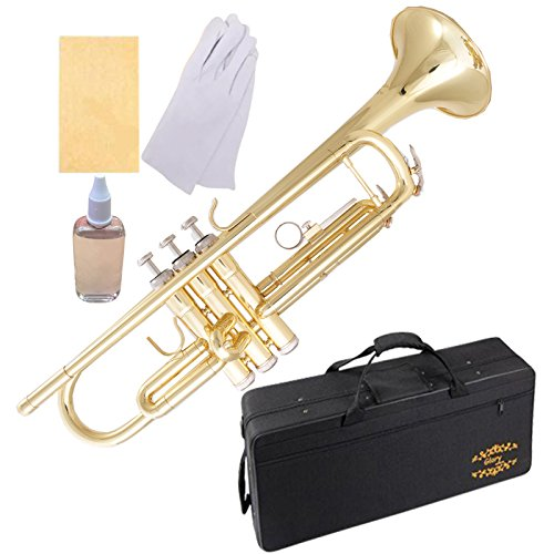 Glory Brass Bb Trumpet with Pro Case +Care Kit, Gold, More COLORS Available ! CLICK on LISTING to SEE All Colors