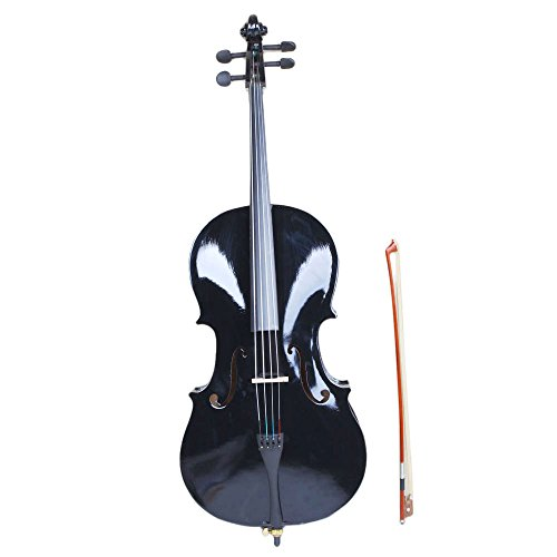MicroMall(TM) High Grade Basswood 4/4 Full Size Natural Cello with Bag ,Bow,rosin,bridge Black
