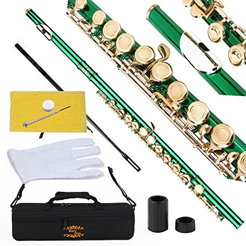Glory Closed Hole C Flute With Case, Tuning Rod and Cloth,Joint Grease and Gloves Green/Laquer-More Colors available,Click to see more colors
