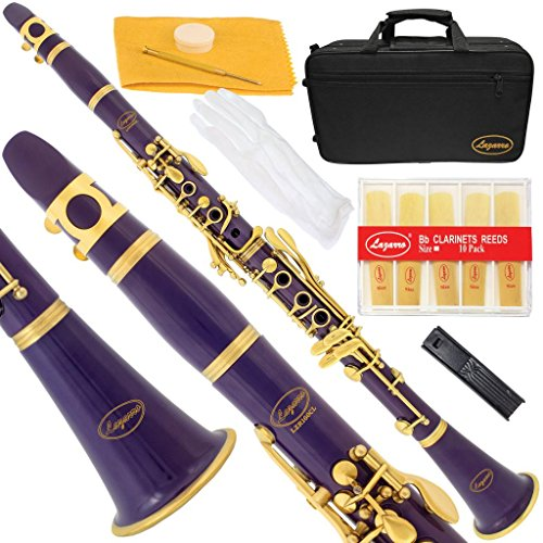 160-PR-N – PURPLE/LACQUER Keys Bb B flat Clarinet Lazarro+11 Reeds,Case,Care Kit~24 COLORS Available,CLICK on LISTING to SEE All Colors