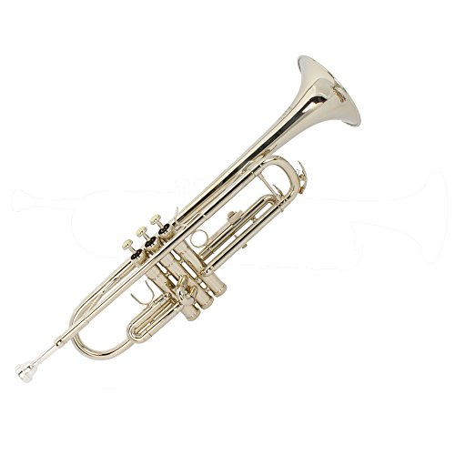 Firekingdom Nickelplated Drop B Adjustable Trumpet with Silver Mouth of Trumpet and Two Gloves,Silver