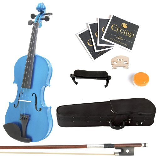 Mendini 1/2 MV-Blue Solid Wood Violin with Hard Case, Shoulder Rest, Bow, Rosin and Extra Strings