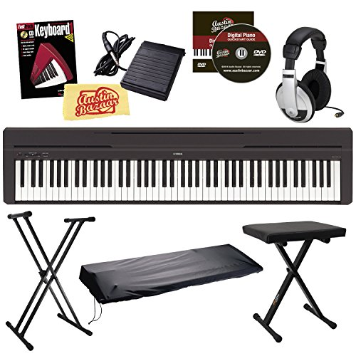 Yamaha P-45 Digital Piano Bundle with Gearlux Double-Braced Stand, Gearlux Padded Bench, Gearlux Dust Cover, Sustain Pedal, Headphones, Austin Bazaar Instrucational DVD, Hal Leonard Instructional Book, and Austin Bazaar Polishing Cloth – Black
