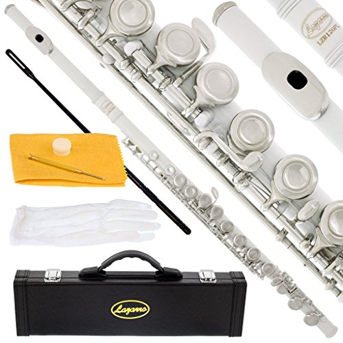 120-WH – WHITE/NICKEL Keys Closed C Flute Lazarro+Pro Case,Care Kit – 10 COLORS Available ! CLICK on LISTING to SEE All Colors