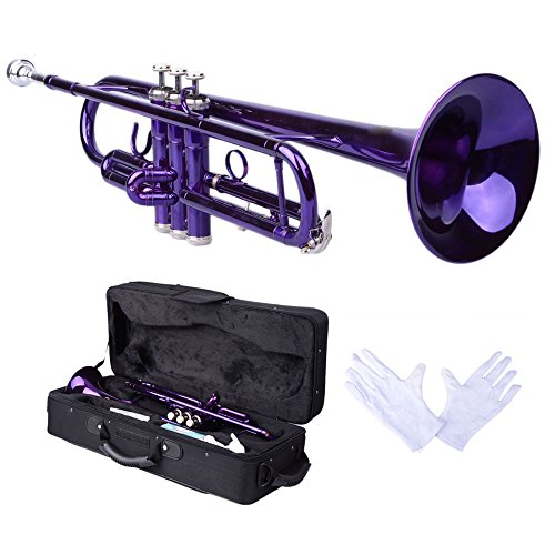 Firekingdom Brass B Flat Trumpet with Hard Case and Mouth of Trumpet/Mouthpiece and Gloves,Violet