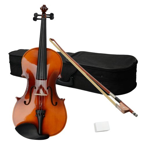 15-Inch Acoustic Wood Viola with Case , Bow , Rosin Brown , Perfect Gift for Music Lovers