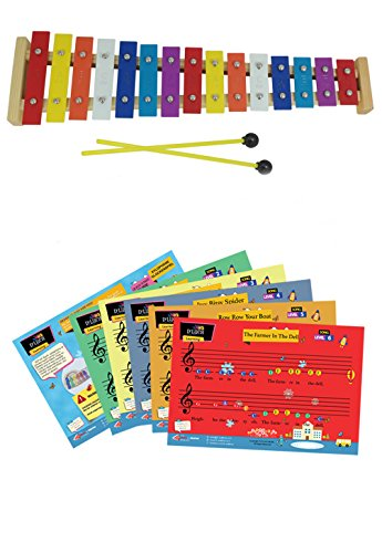 D'Luca TL15A 15 Note Children Xylophone Glockenspiel with Music Cards