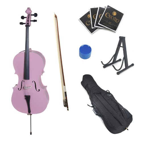 Cecilio CCO-Pink Student Cello with Soft Case, Stand, Bow, Rosin, Bridge and Extra Set of Strings, Size 4/4 (Full Size)