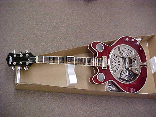 CUSTOM ELECTRIC ACOUSTIC RESONATOR GUITAR – CANDY RED LACQUER FINISH W/ GIG BAG