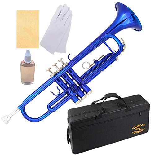 Glory Brass Bb Trumpet with Pro Case +Care Kit, Blue, More COLORS Available ! CLICK on LISTING to SEE All Colors