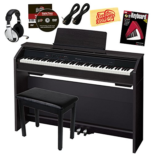 Casio Privia PX-860 88-Key Digital Piano Bundle with Gearlux Furniture-Style Bench, Austin Bazaar Instructional DVD, Two Gearlux 1/4-Inch Instrument Cables, Instructional Book, Headphones, and Polishing Cloth – Black