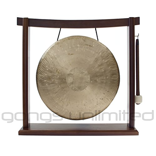 Traditional 12″ (30 cm) Bronze Chinese Heng Gong on Woodsonic Gong Stand – Perfect for Desktop and Tabletop, Home Decor, Feng Shui, Shrine, Meditation – High Quality Sound – Handmade by China's Best Gongmakers in Wuhan – Heavier Gong with Thick Rim – Has a complex layered sound for its size (Combo includes Gong, Gong Stand and Mallet) – Gongs Unlimited