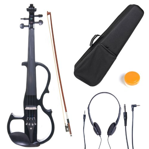 Cecilio 4/4 CEVN-2BK Solid Wood Electric/Silent Violin with Ebony Fittings in Style 2 – Full Size – Black Metallic