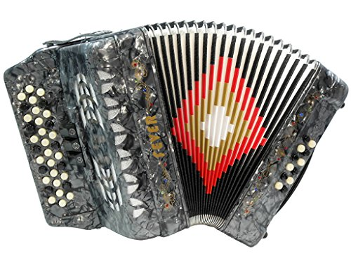 Fever F3412-GY Button Accordion with 34 Keys and 12 Bass on GCF Key, Grey