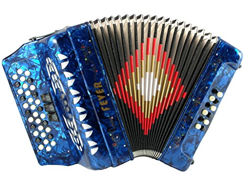 Fever F3412-BL Button Accordion with 34 Keys and 12 Bass on GCF Key, Blue